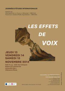"""Journées d'étude """"Effets de voix"""" (Lille, novembre 2014)"""