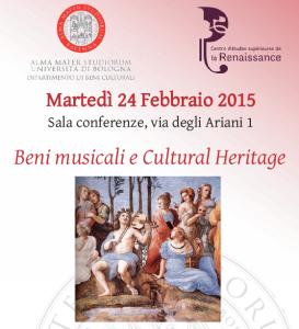 """Journée d'étude """"Beni musicali e Cultural Heritage"""" (Ravenna, février 2015)"""