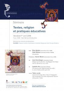 Textes, religion et pratiques éducatives (journées d'étude CESR, avril 2016)