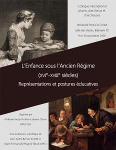 L'Enfance sous l'Ancien Régime (colloque – Créteil, novembre 2016)